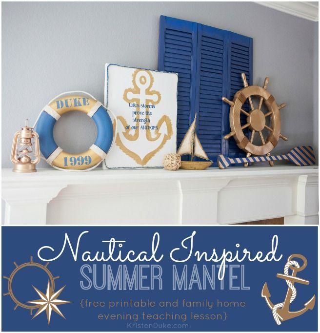 Nautical Inspired Summer Mantel: Anchor Art and blue decor. www.kristenduke.com ...