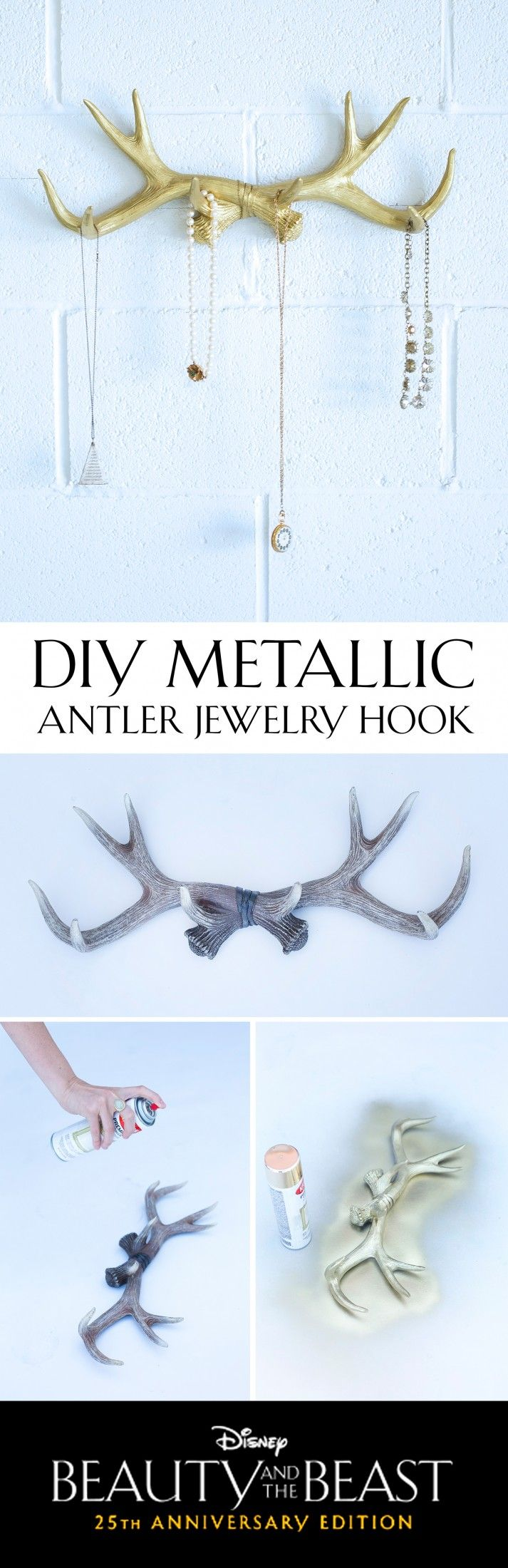 Refurbish rustic antlers to create a feminine jewelry hook for your home. [ad]