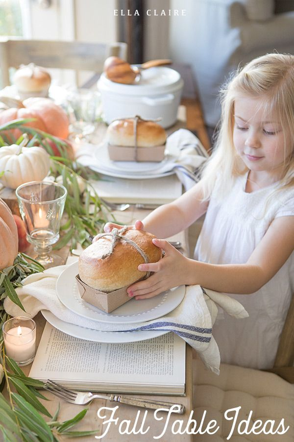 Simple and easy rustic Fall tablescape with DIY farmhouse centerpiece creates a ...