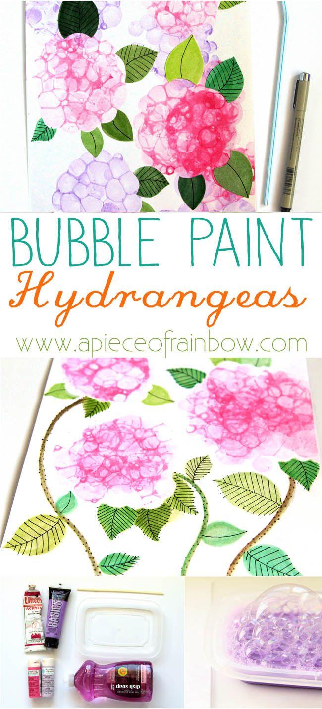 So Easy and Fun! Make Bubble Paint Flower Hydrangeas + Bubble Paint Recipe!