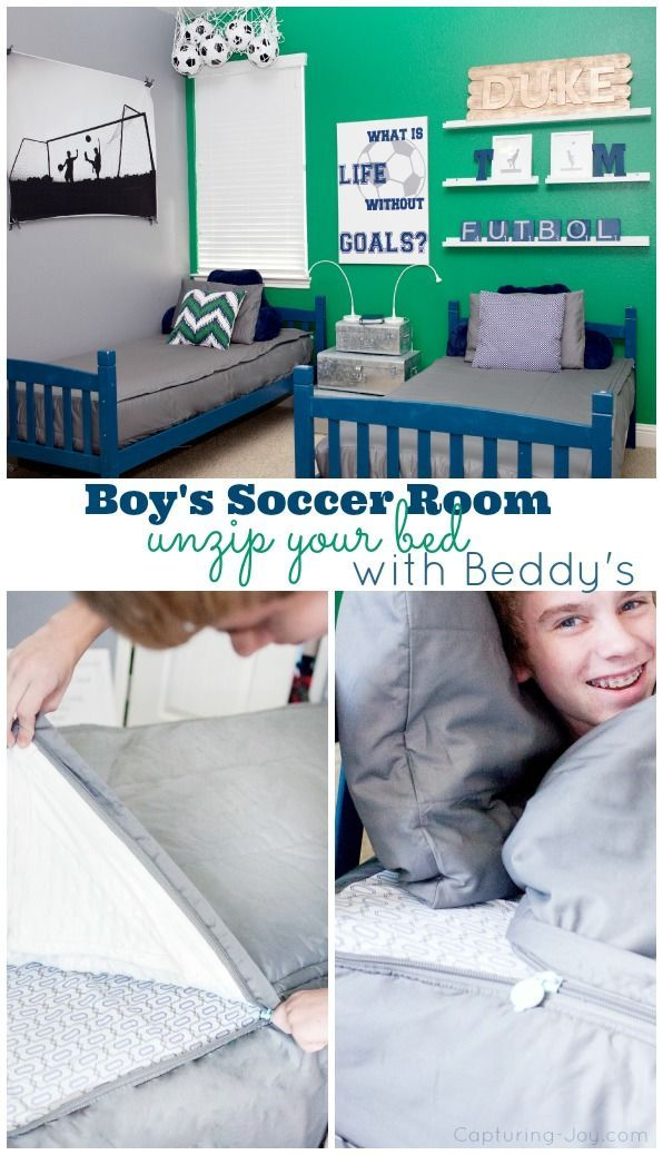 Soccer Futbol Room Ideas. This teen boy room makeover is one of my favorites. It...