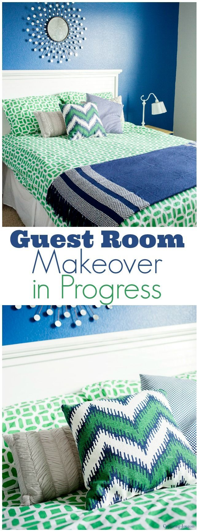 The guest room was one of the last to get a pop of color but I just love this bl...
