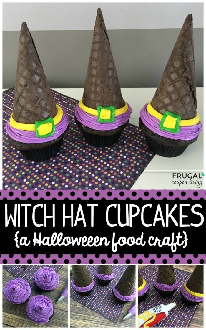 These Halloween Witch Hat Cupcakes are so simplistic and make the most adorable ...