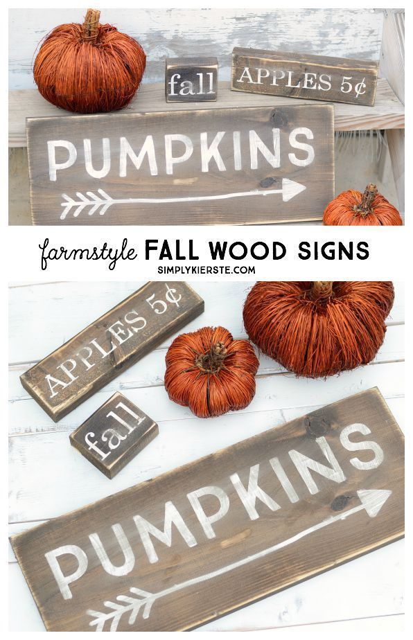 These darling farmhouse style wood fall signs are super easy to make, and perfec...