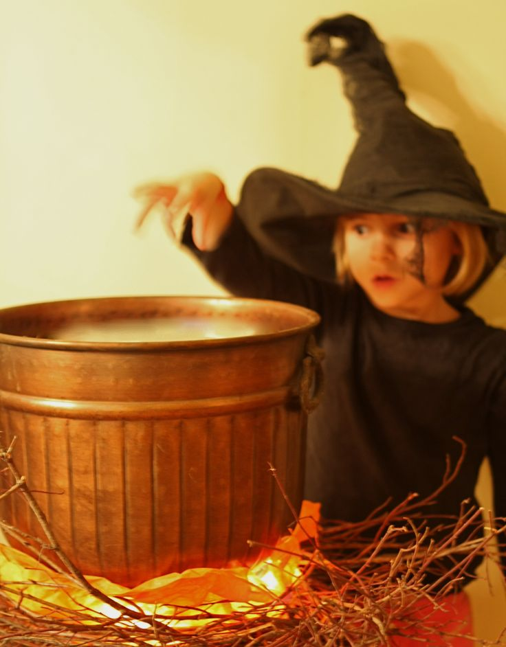 Use a copper pot and some LED lights to make a faux Halloween Cauldron. It even ...