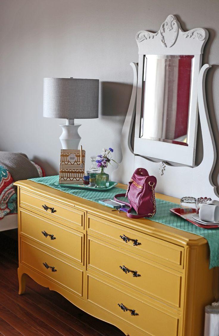 Voice of Color Va Va Voom Yellow. Vintage painted dresser