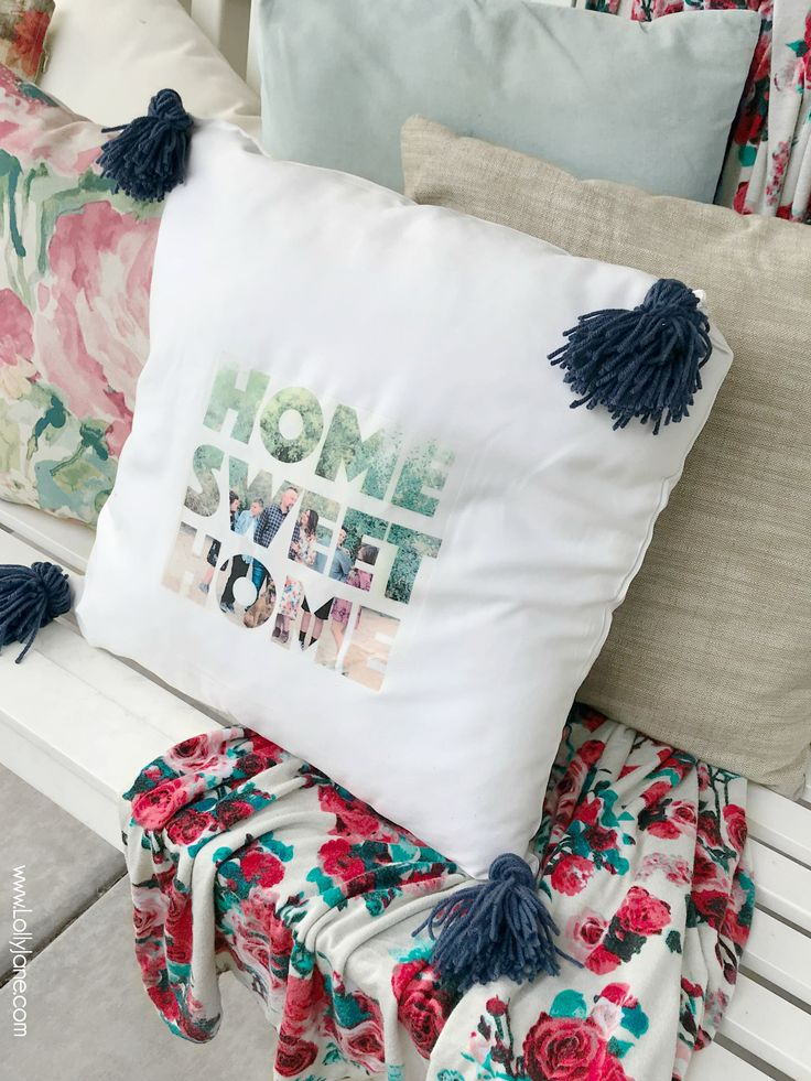 diy photo text pillow - Lolly Jane