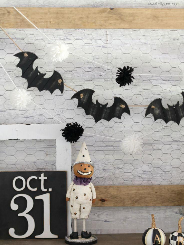 easy bat garland diy #lollyjane #halloween