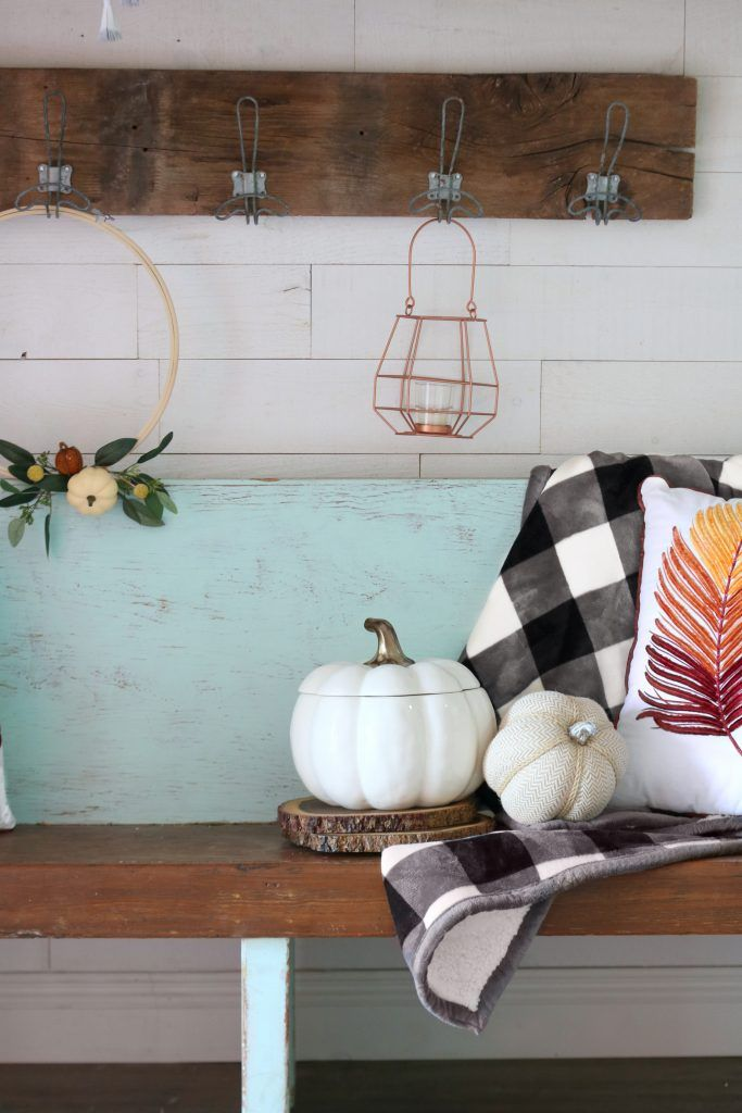 how to decorate your entryway beautifully for fall #fall #falldecor #hooks #pump...