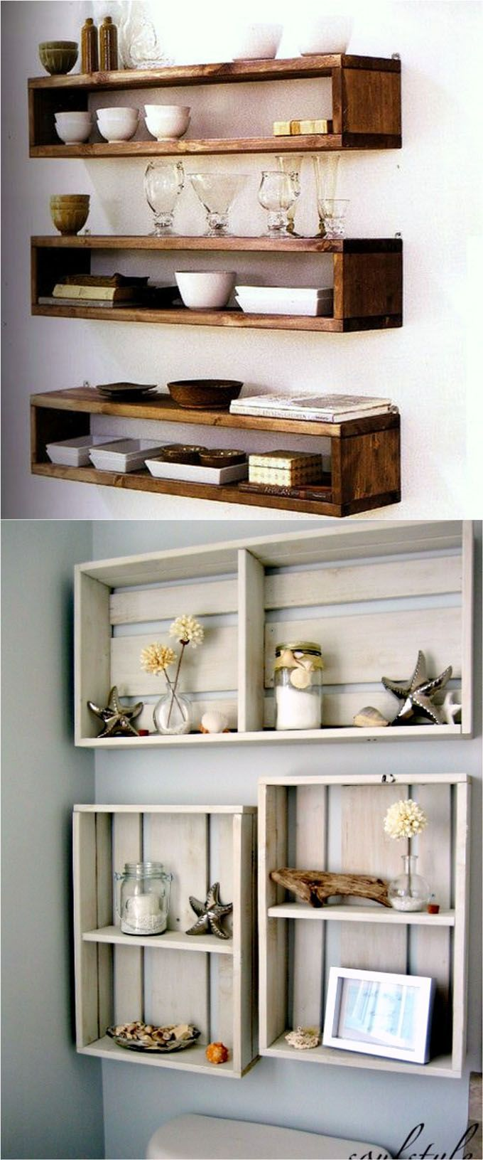 16 easy tutorials on building beautiful floating shelves and wall shelves! Check...