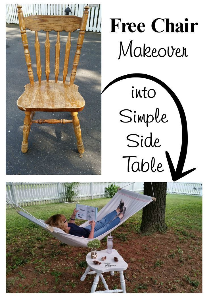 A FREE old chair is the perfect furniture to repurpose. This chair side table is...