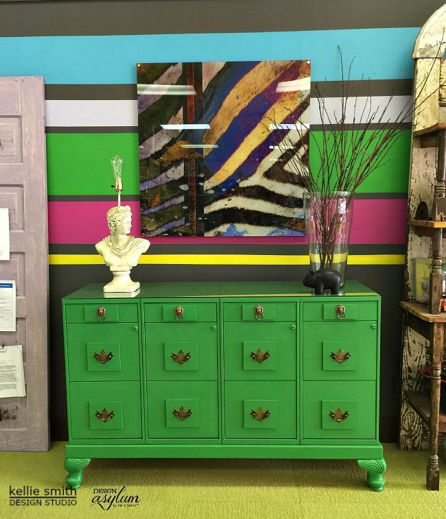 DIY Striped Wall and How to Turn Your Filing Cabinet Into Beautiful Furniture us...