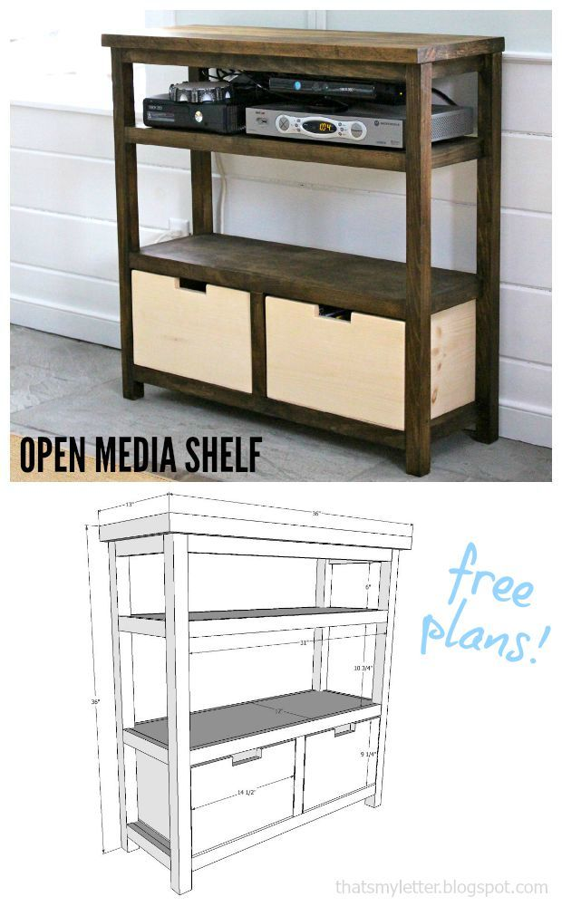 DIY open media shelf with two storage bins and free plans. #diyfurniture