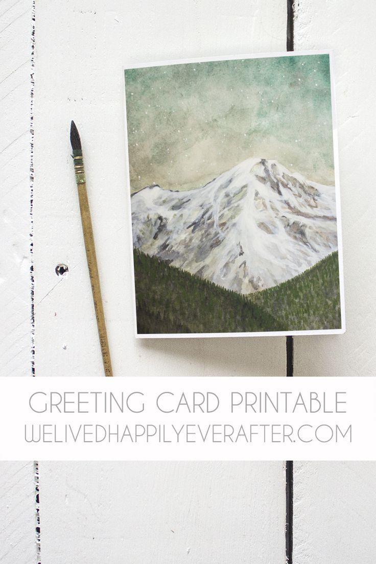 Free Mountain Watercolor Greeting Card Printable