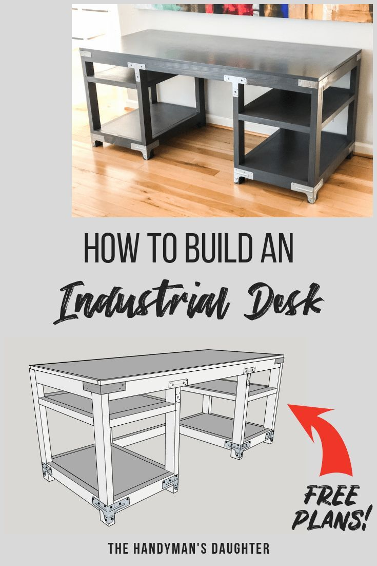Get the free woodworking plans to make this amazing industrial desk! All you nee...