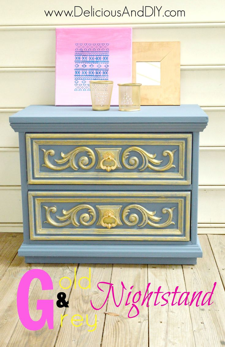 Diy Furniture Gold And Grey Nightstand Makeover Home