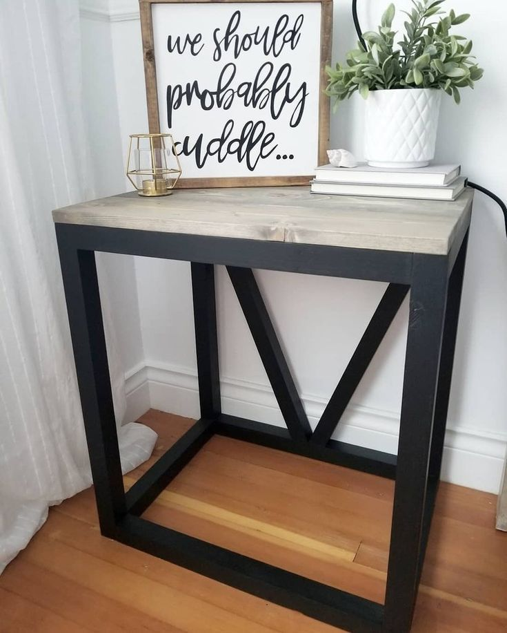 Gorgeous modern, yet rustic DIY V Side Table... Learn how to make one for your h...