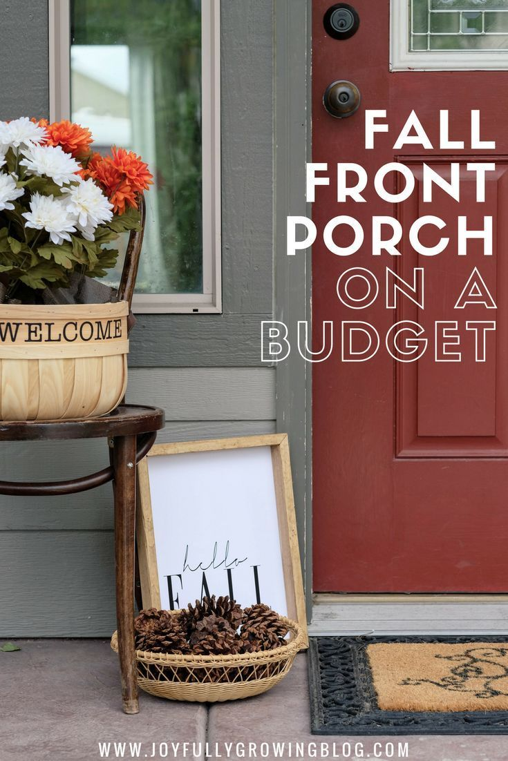 How to decorate your front porch for fall on a budget! These fall decor ideas fo...
