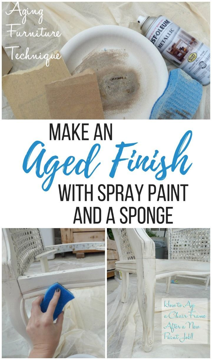 How to make an aged finish using spray paint and a sponge - DIY distressed techn...