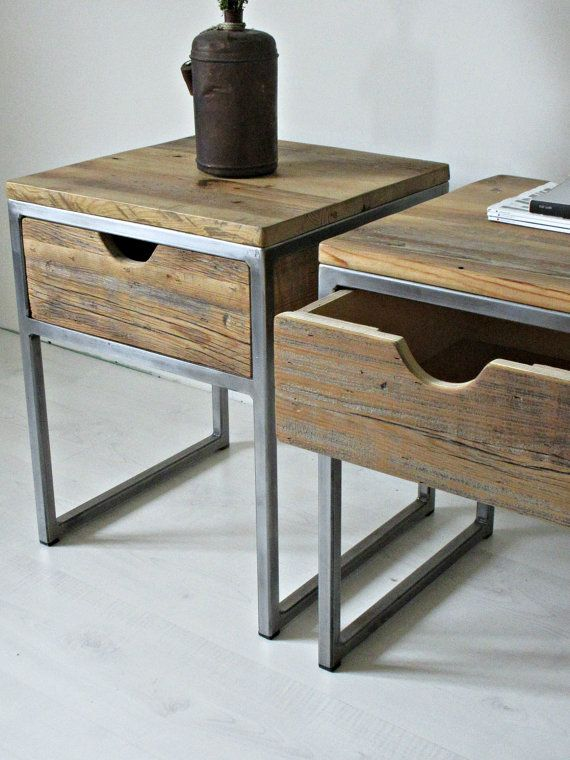 Industrielle Nachttisch Holz und Stahl Nachttisch: rustikale