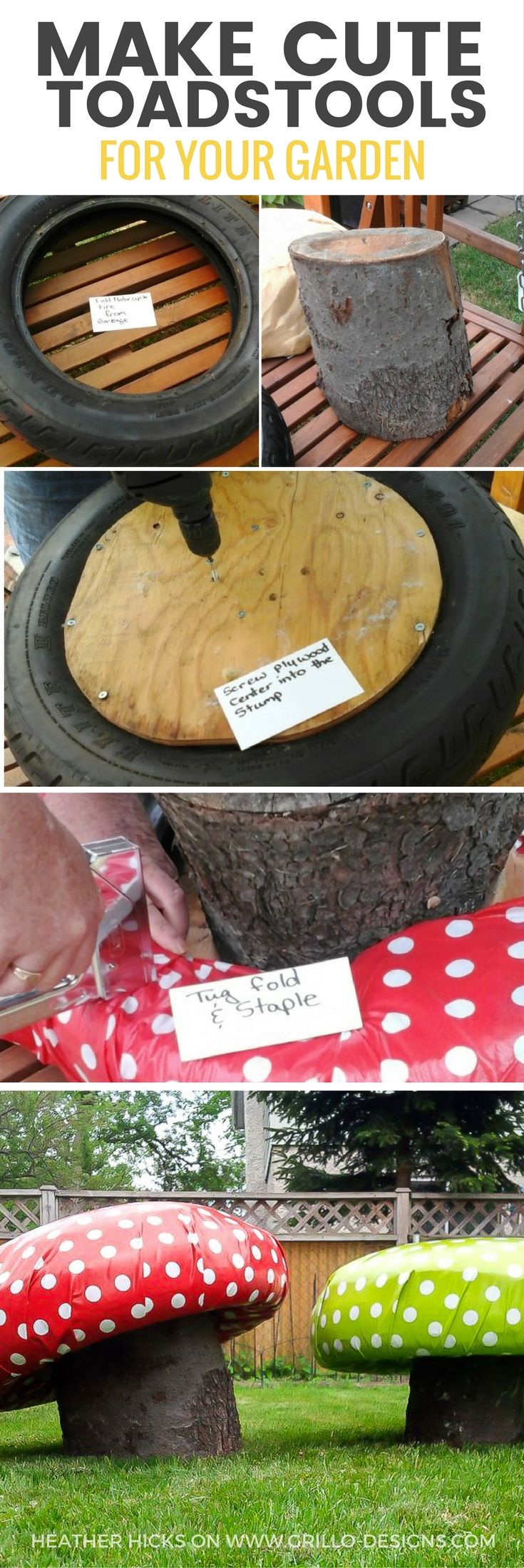 Learn how to make these super cute DIY garden stools using tree trunks and tyres...