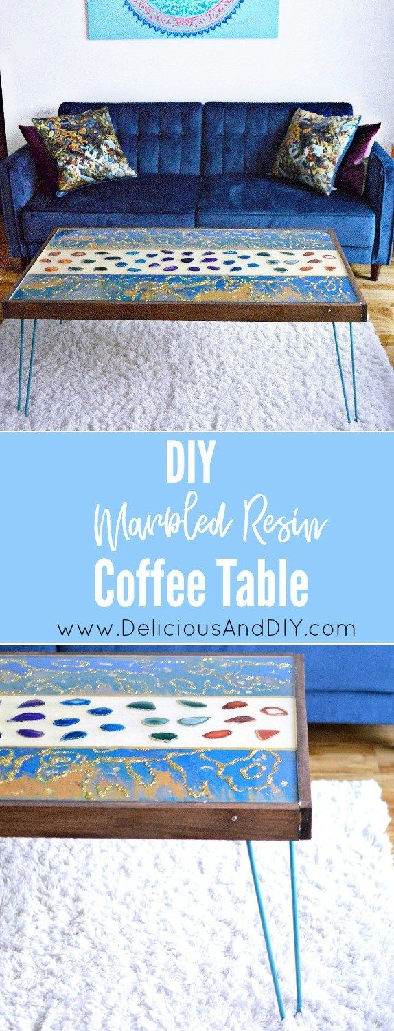 Learn how to make your own DIY Wood Coffee Table using Resin, Marbling Paint Tec...