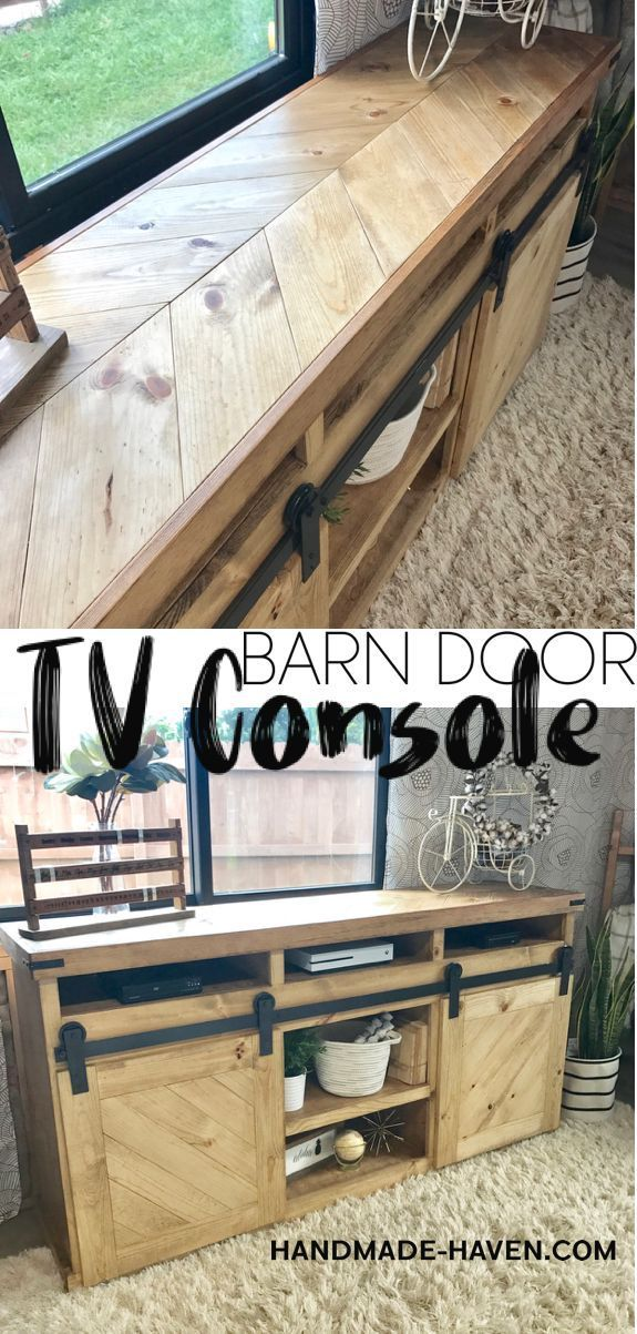 Looking for the perfect rustic media center?! This DIY Sliding Barn Door TV Cons...