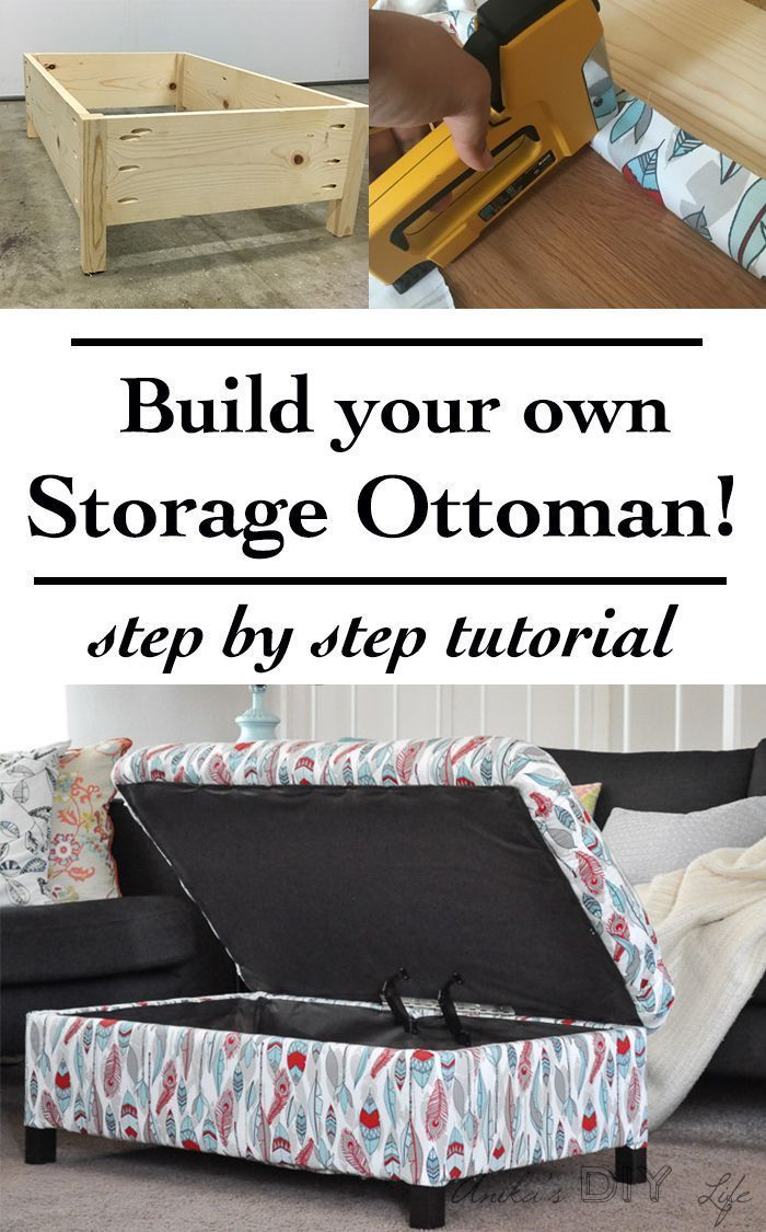 Make your own DIY upholstered storage ottoman - it is super easy! This tutorial ...