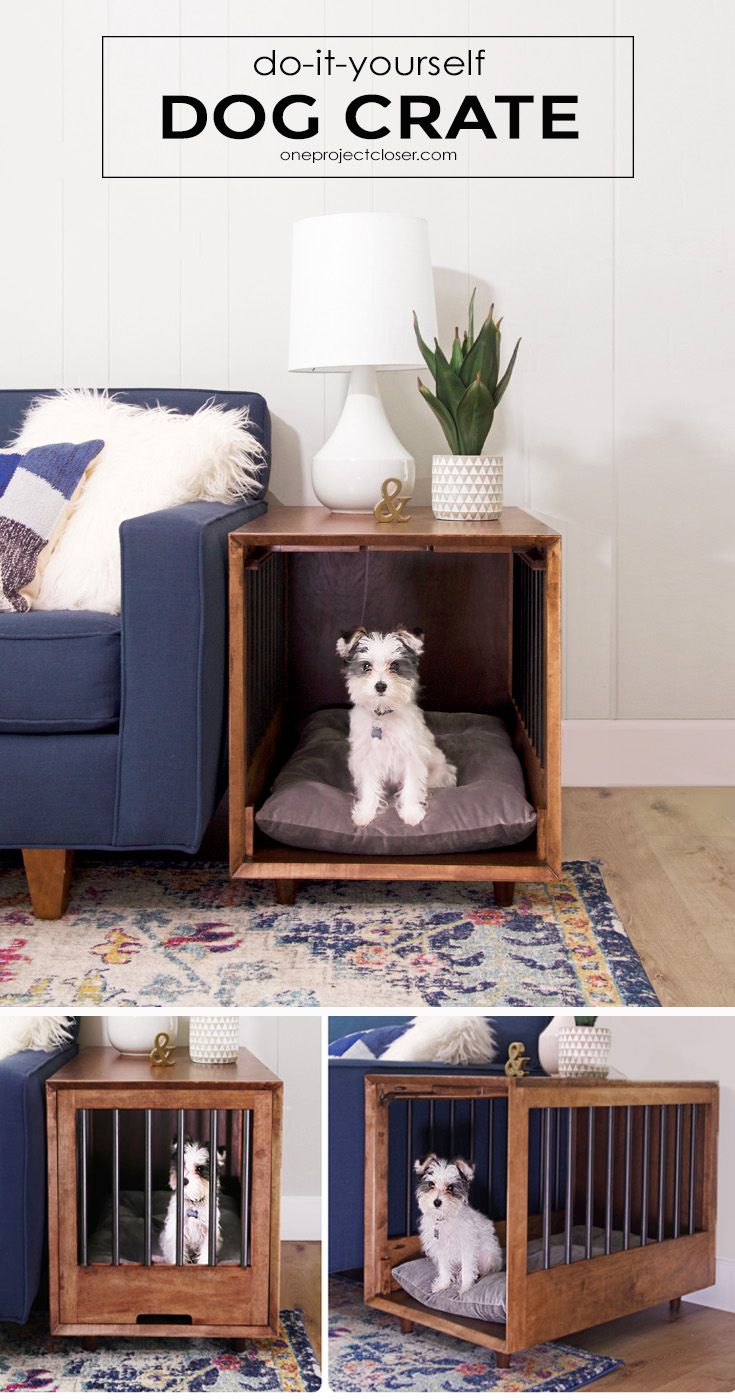 Mid-Century Modern Dog Crate and End-Table Tutorial via Jocie @ One Project Clos...