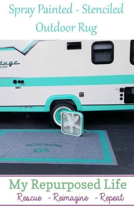 Spray Painted Outdoor Rug for Camper or RV - My Repurposed Life®️️ #easy #d...
