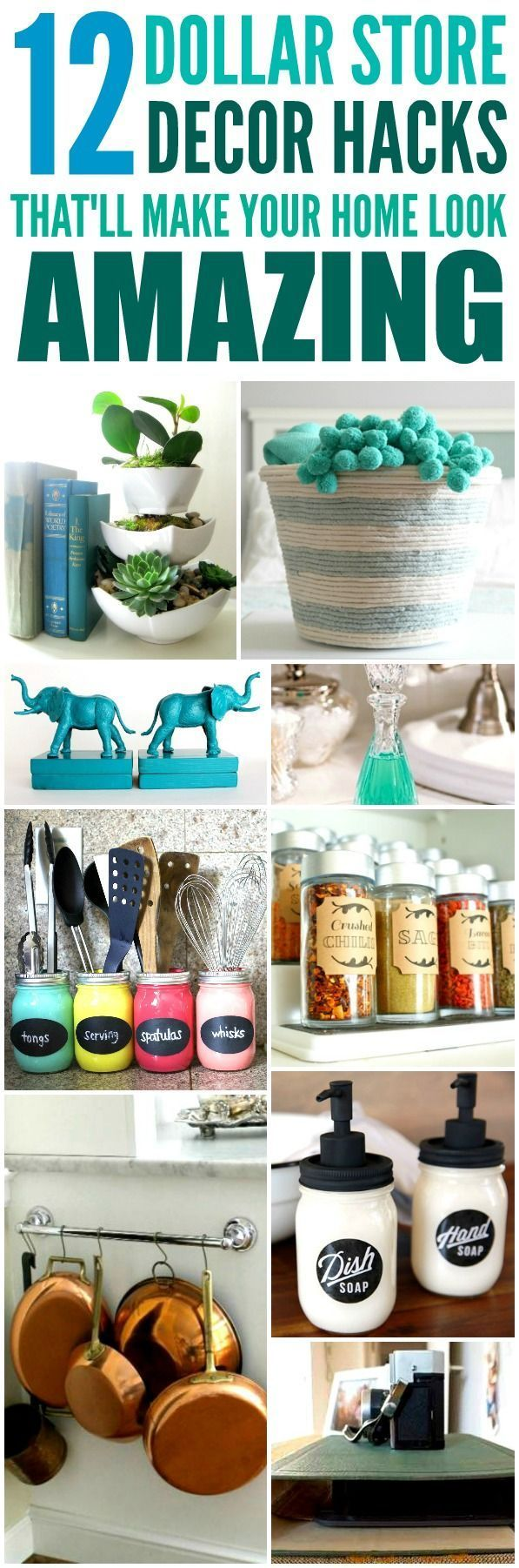 These 12 Dollar Store Decor Hacks are THE BEST! I'm so glad I found these AM...
