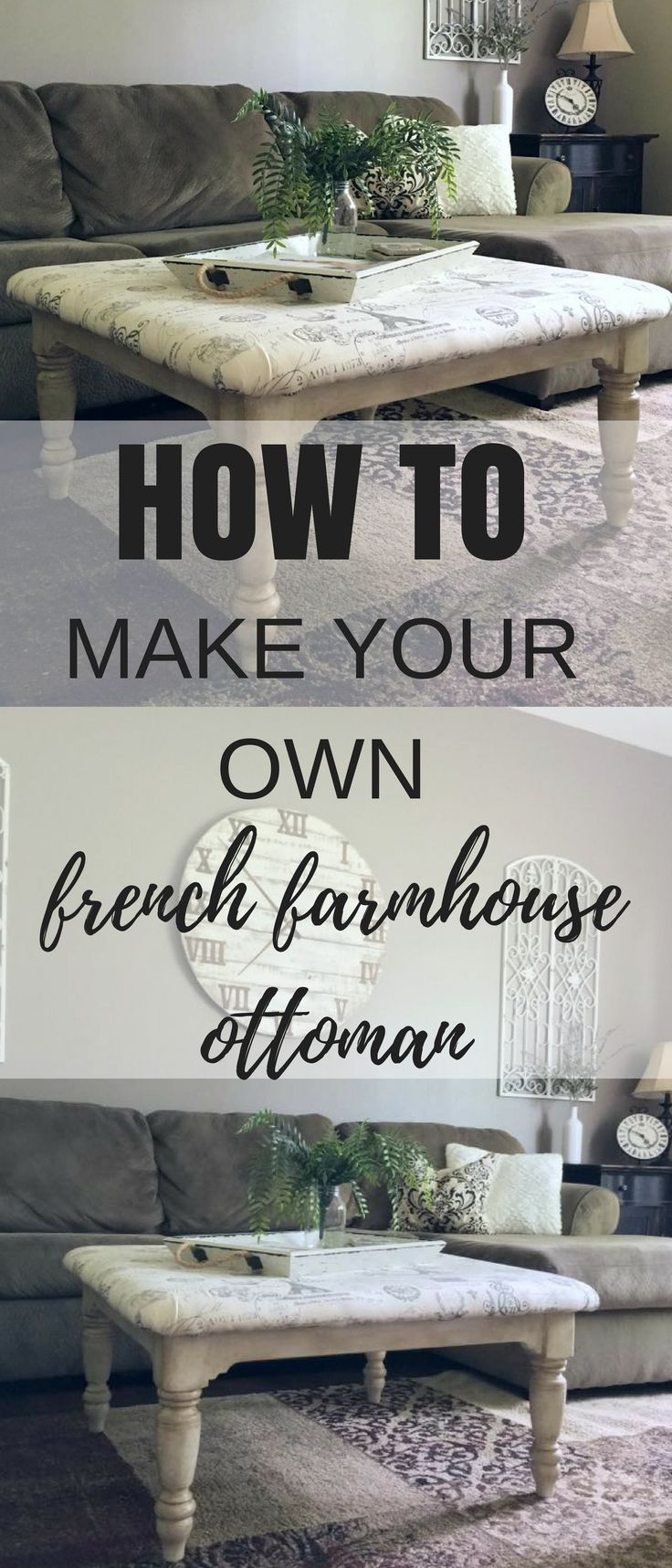 This DIY Farmhouse Ottoman tutorial is super easy and can help you transform you...