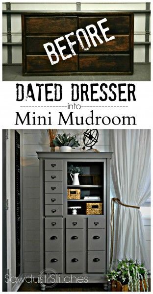 Turn a dated dresser into a mini mudroom complete with hanging coat storage, pul...