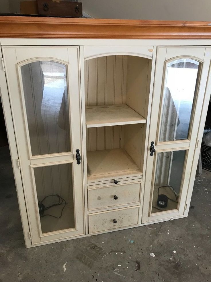 Turn a hutch top into this beautiful farmhouse cabinet in just hours! #furniture...