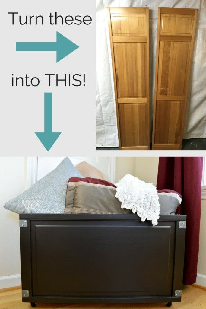 Upcycle those old bi-fold doors into a beautiful blanket box! These skinny doors...