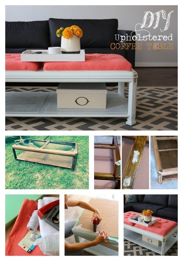 Upholstered Coffee Table - Turn an old coffee table into an ottoman hybrid using...