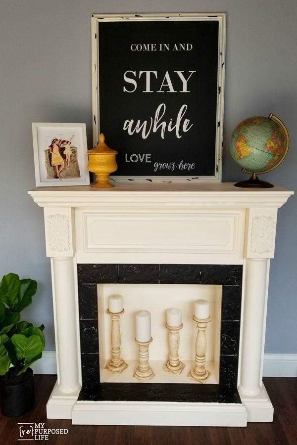 faux fireplace makeover MyRepurposedLife #repurposed #furniture #makeover #faux ...