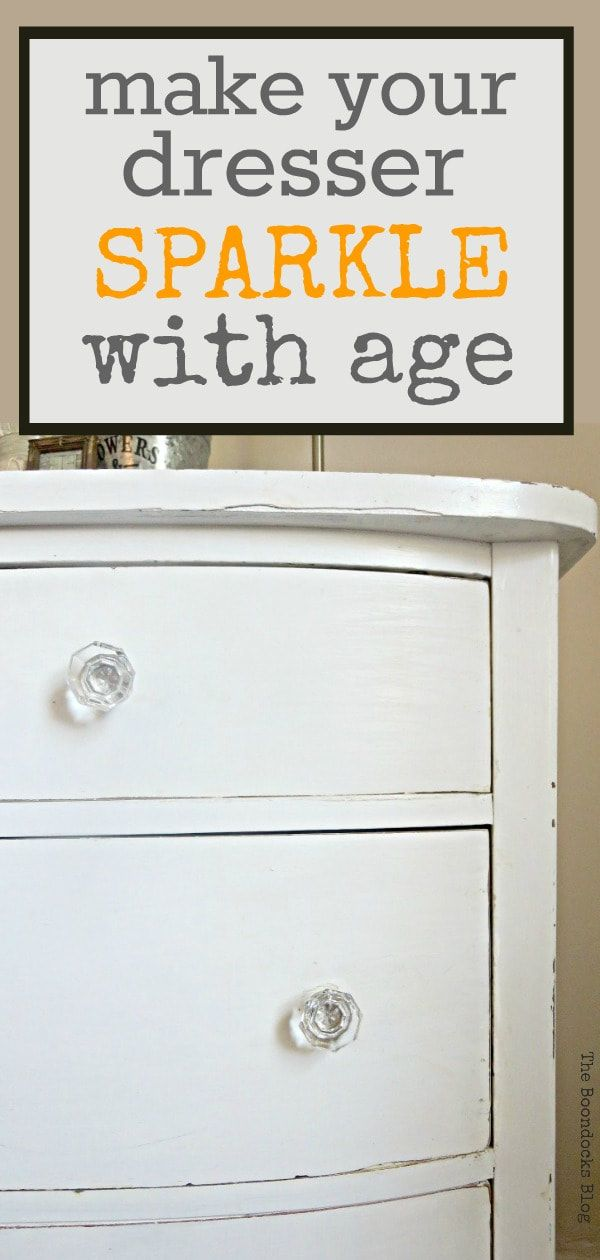 Diy Furniture White Distressed Vintage Dresser With Glass Knobs