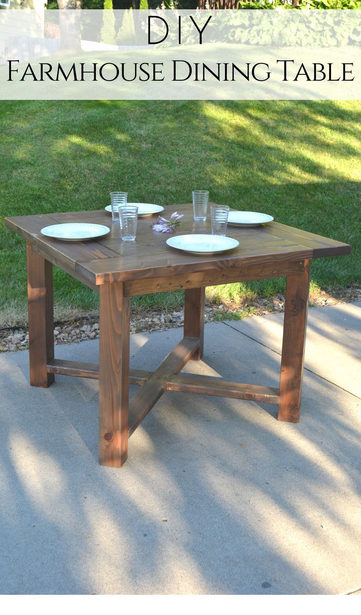 Build your own X Base Square Farmhouse Dining Table with these simple free plans...