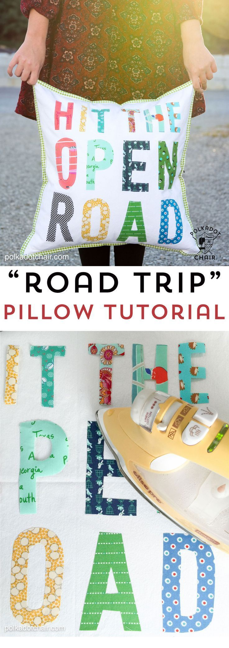 Free tutorial for a Hit the Open Road pillow, a fun DIY project for an RV or cam...