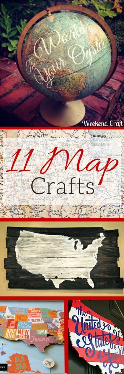 11 DIY Map Crafts from globes, art, home decor, travel memories, pallet signs, g...