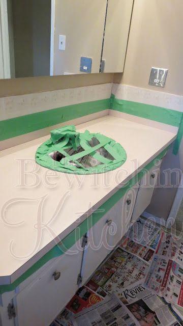 $25 DIY Bathroom Countertops - The Bewitchin' Kitchen