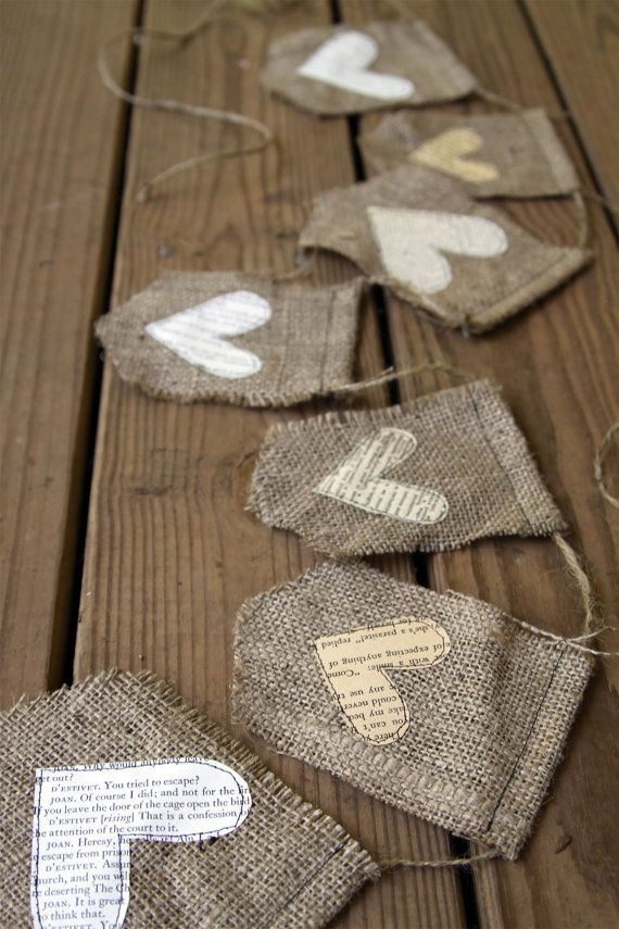 A rustic sweet burlap banner with book page hearts.#Crafts #DIY