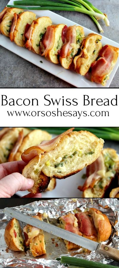 Bacon and cheese and carbs... What could be better than this Bacon Swiss Bread t...