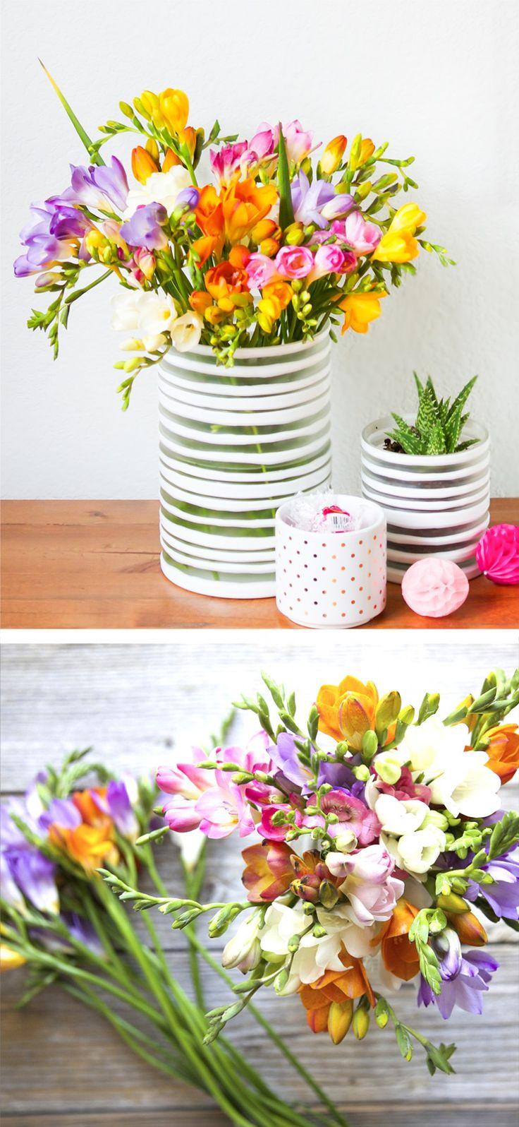 Beautiful Bouqs flowers in DIY vases.