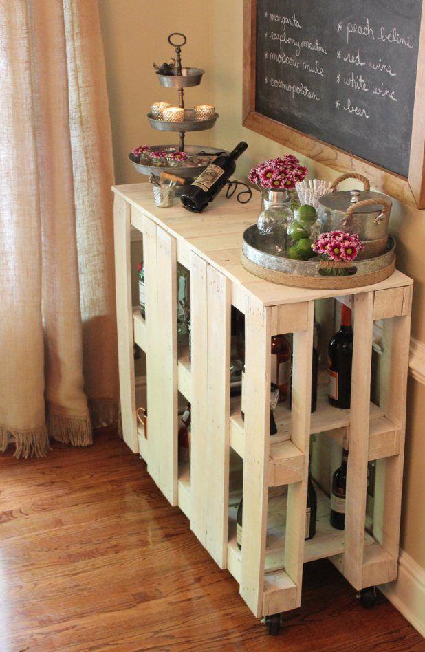 Beautiful DIY Pallet Bar Cart
