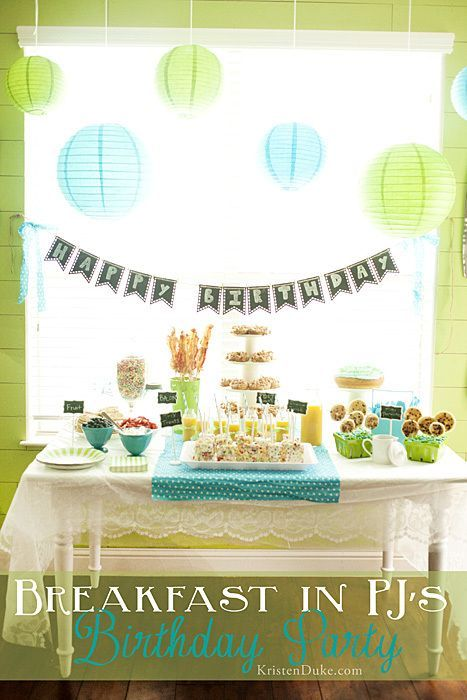 Breakfast in PJs. Fun theme for a birthday party! www.kristenduke.com #breakfast...