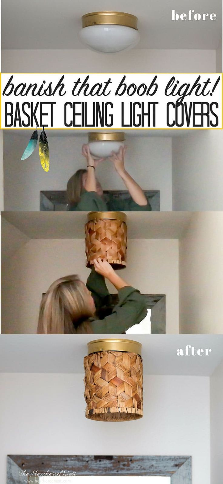 Conquer the Ceiling Cleavage! You can banish those ugly flushmount light fixture...