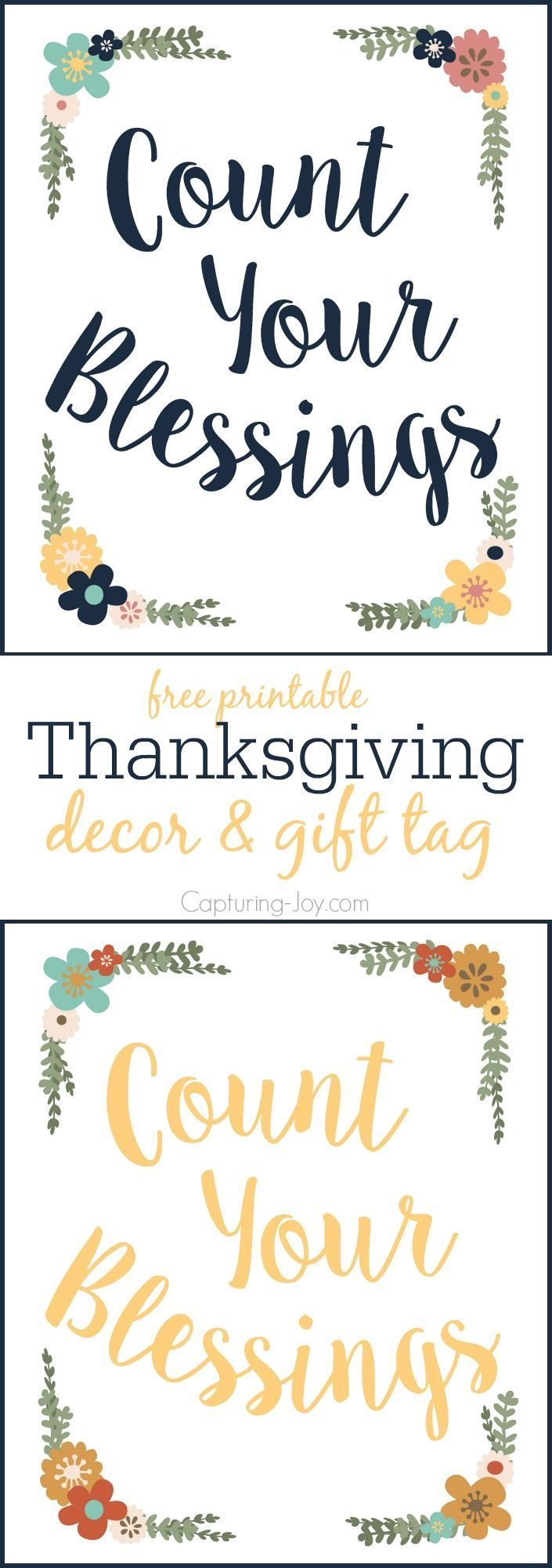 Count Your Blessings Printable, Thanksgiving decoration/git tag, or inspirationa...