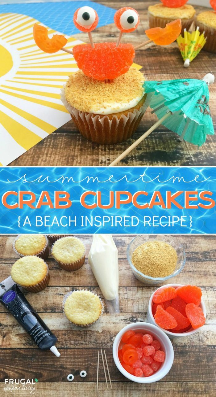 Crab Beach Cupcakes. Beach party cupcakes for your next under the sea party. #fr...